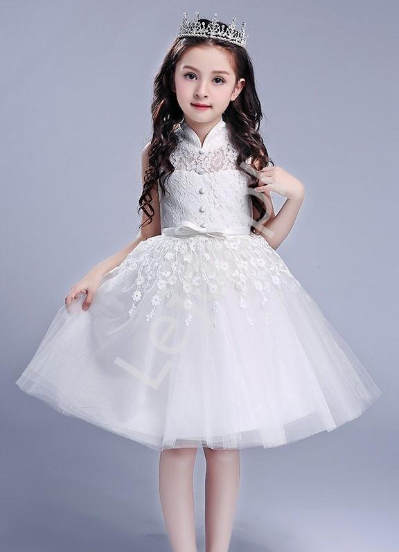 Biała sukienka dla dziewczynki tiulowo koronkowa ze stójką na komunię, chrzciny, na sypanie kwiatków - Lejdi