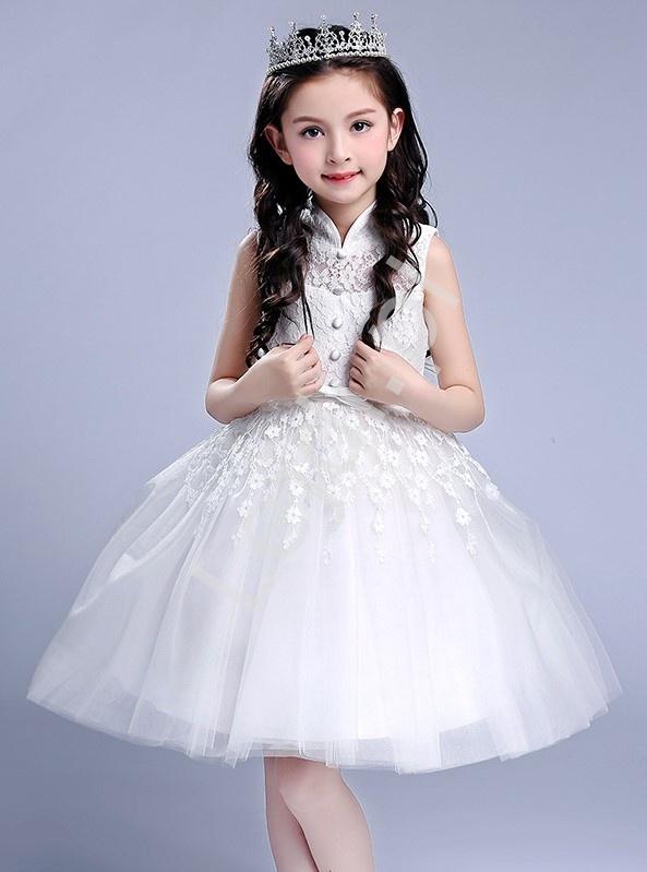 2e3f625eb1 Biała sukienka dla dziewczynki tiulowo koronkowa ze stójką na komunię