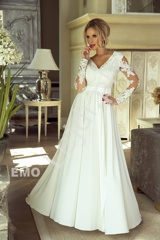 Biała sukienka Luna na ślub cywilny, wieczorowa - Lejdi