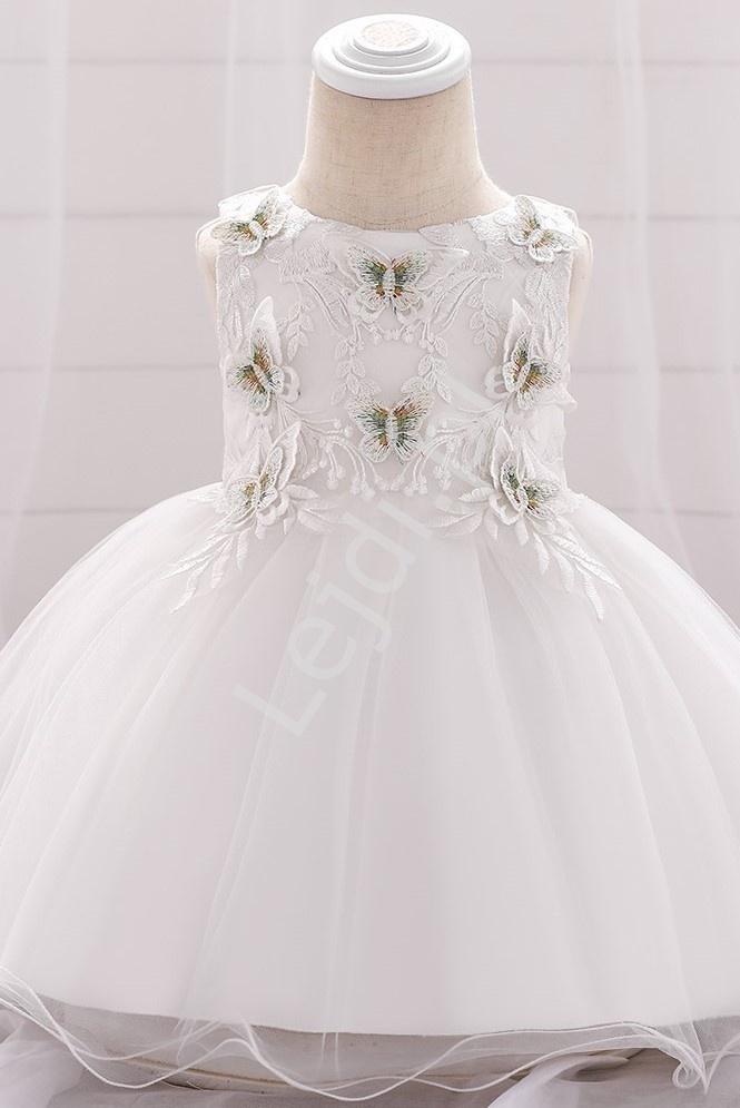 Biała sukienka na chrzciny z motylkami 899 - Lejdi