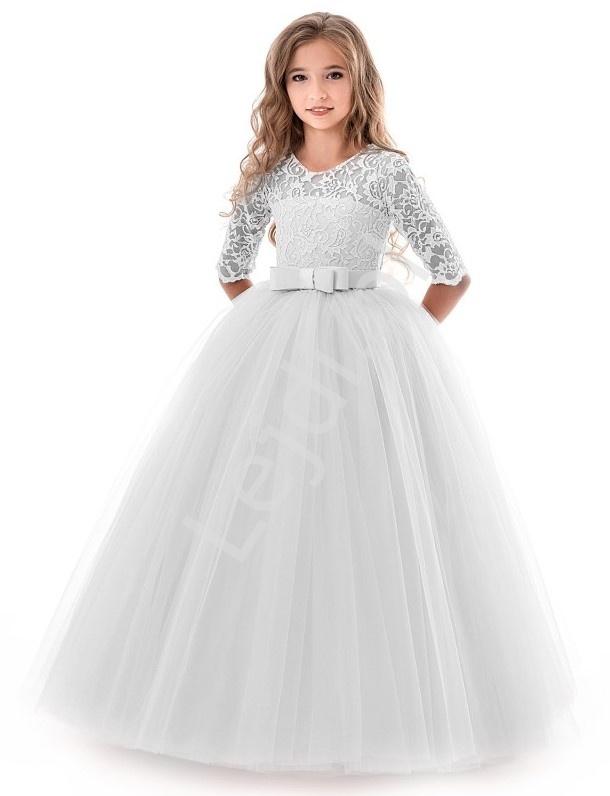 Biała sukienka na komunię z tiulowym obfitym dołem 022 - Lejdi