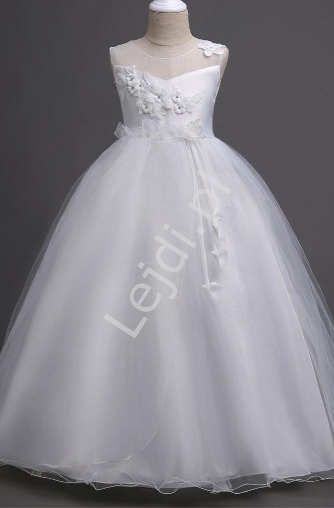 Biała sukienka tiulowa dla dziewczynki na komunię, chrzciny, do sypania kwiatków 708 - Lejdi