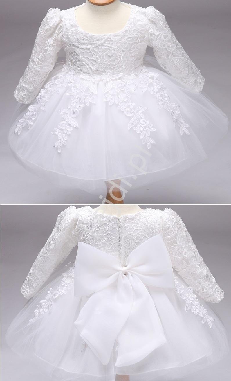 Biała sukienka tiulowa z długim rękawem, na chrzciny - Lejdi