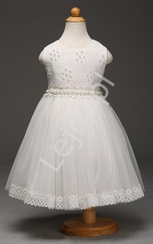 Biała sukienka tiulowa z kwiatkami i perełkami | sukienki dla dziewczynek na komunie - Lejdi