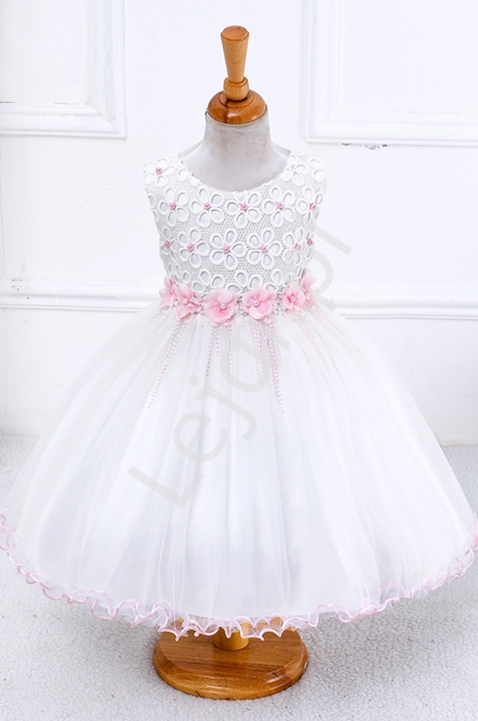Biała sukienka tiulowa z różowymi kwiatkami i perełkami | sukienki dla dziewczynek - Lejdi