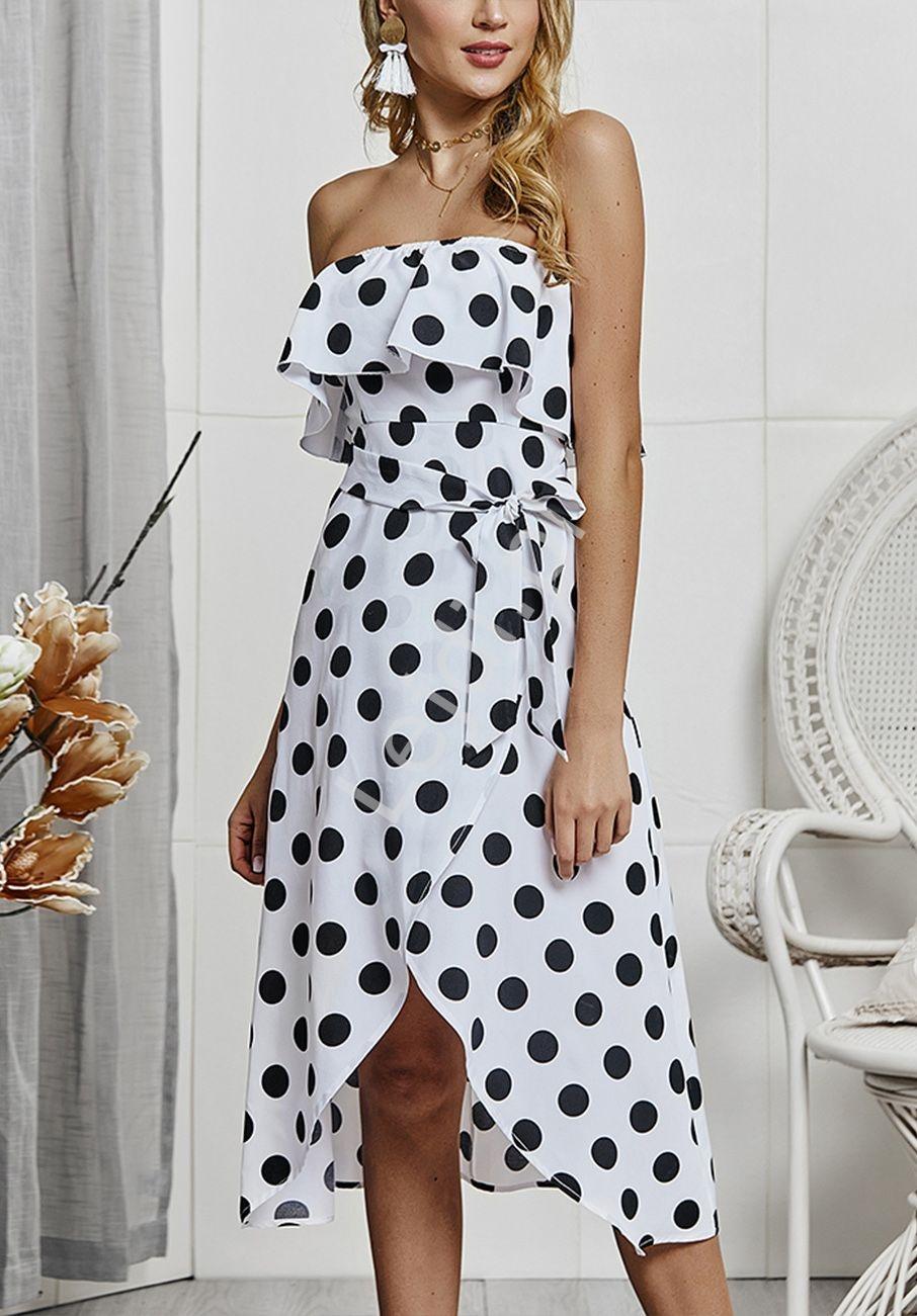 Biała sukienka w czarne kropki z falbaną - Lejdi