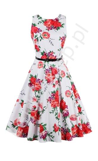 Sukienka dla dziewczynki w czerwone kwiaty Lejdi.pl