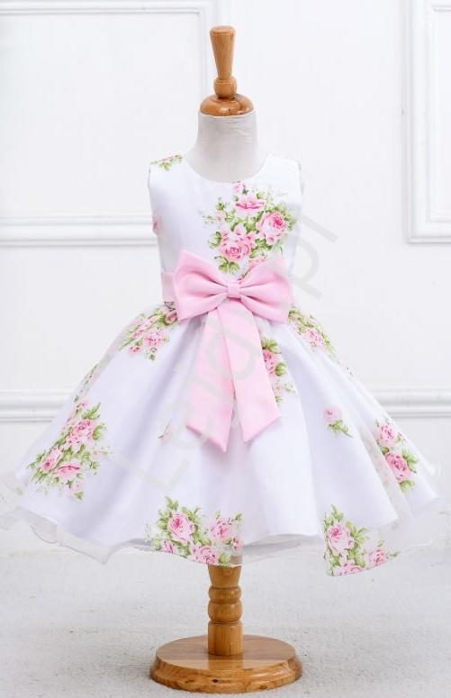 2defd71726 Biała sukienka w nadrukowane róże dla dziewczynki - Lejdi.pl