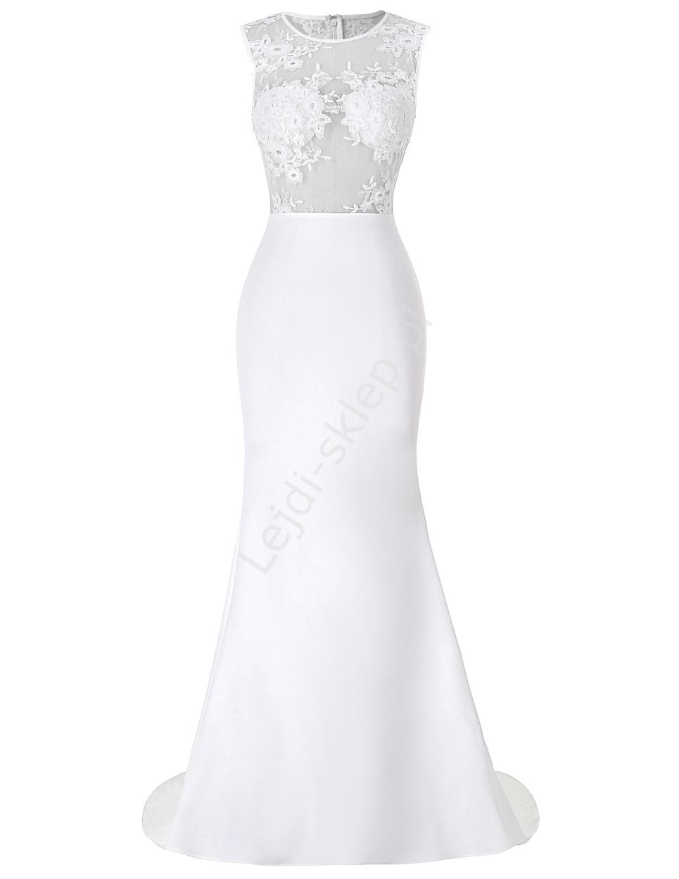 Biała sukienka z kwiatowym haftem na tiulu | białe sukienki - Lejdi