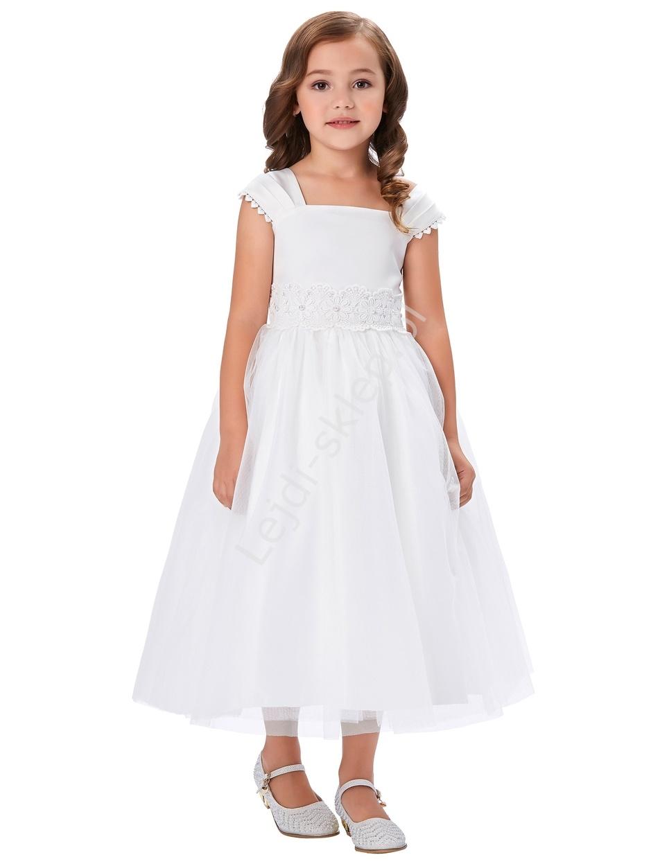 Biała sukienka z tiulu z koronką w pasie na komunie - Lejdi