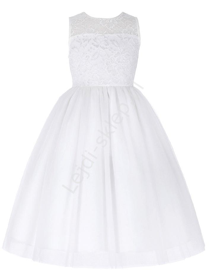 Biała sukienka z tiulu z koronkowa górą | sukienka na komunie - Lejdi