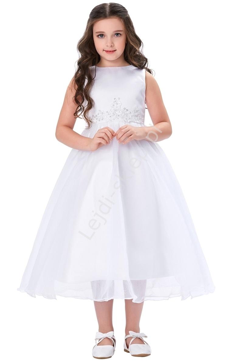 Biała sukienka zdobiona koronką dla dziewczynki | sukienki na komunie - Lejdi