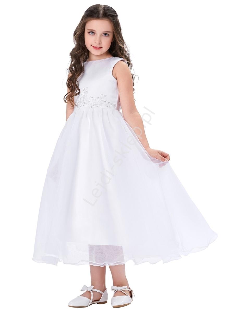 6d868ba27e Preferowane Biała sukienka zdobiona koronką dla dziewczynki