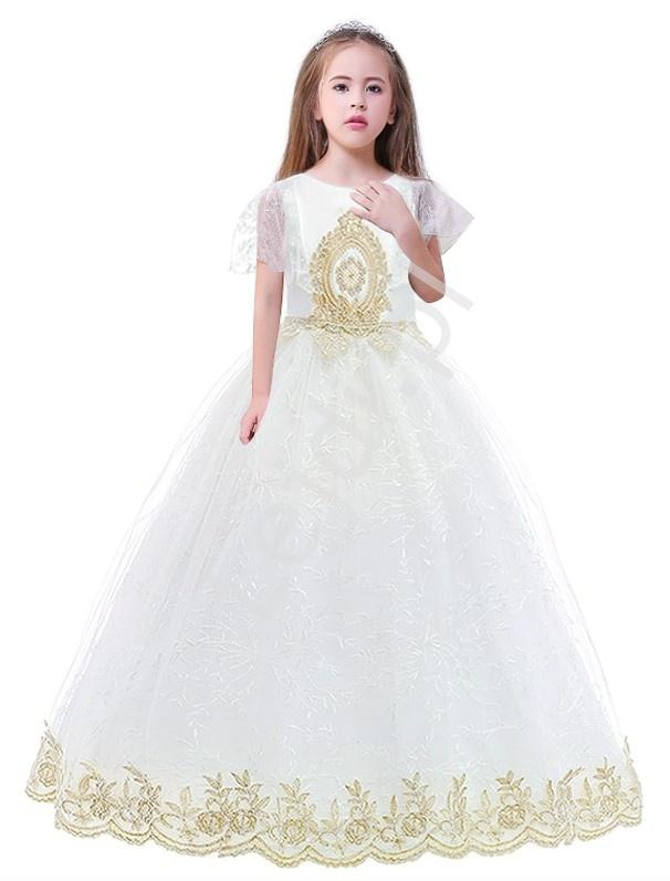 Biała suknia na komunie dla dziewczynki ze złotym haftem - Lejdi