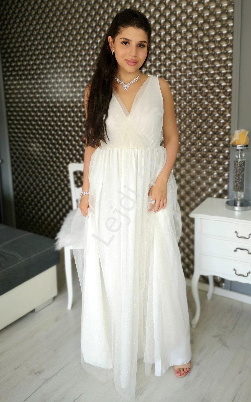 Biała suknia ślubna z złotym brokatem Agnes EMO - Lejdi