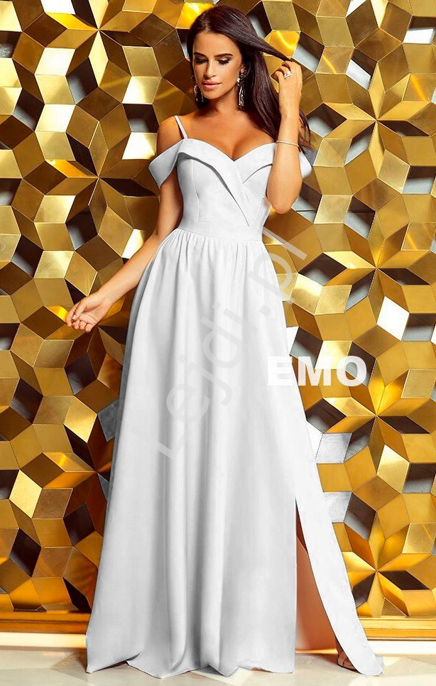 Biała suknia z odkrytymi ramionami | długa suknia ślubna ELIZABETH - Lejdi