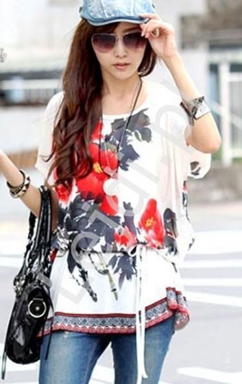 Biała tunika z kwiatowym wzorem | bluzki damskie - Lejdi