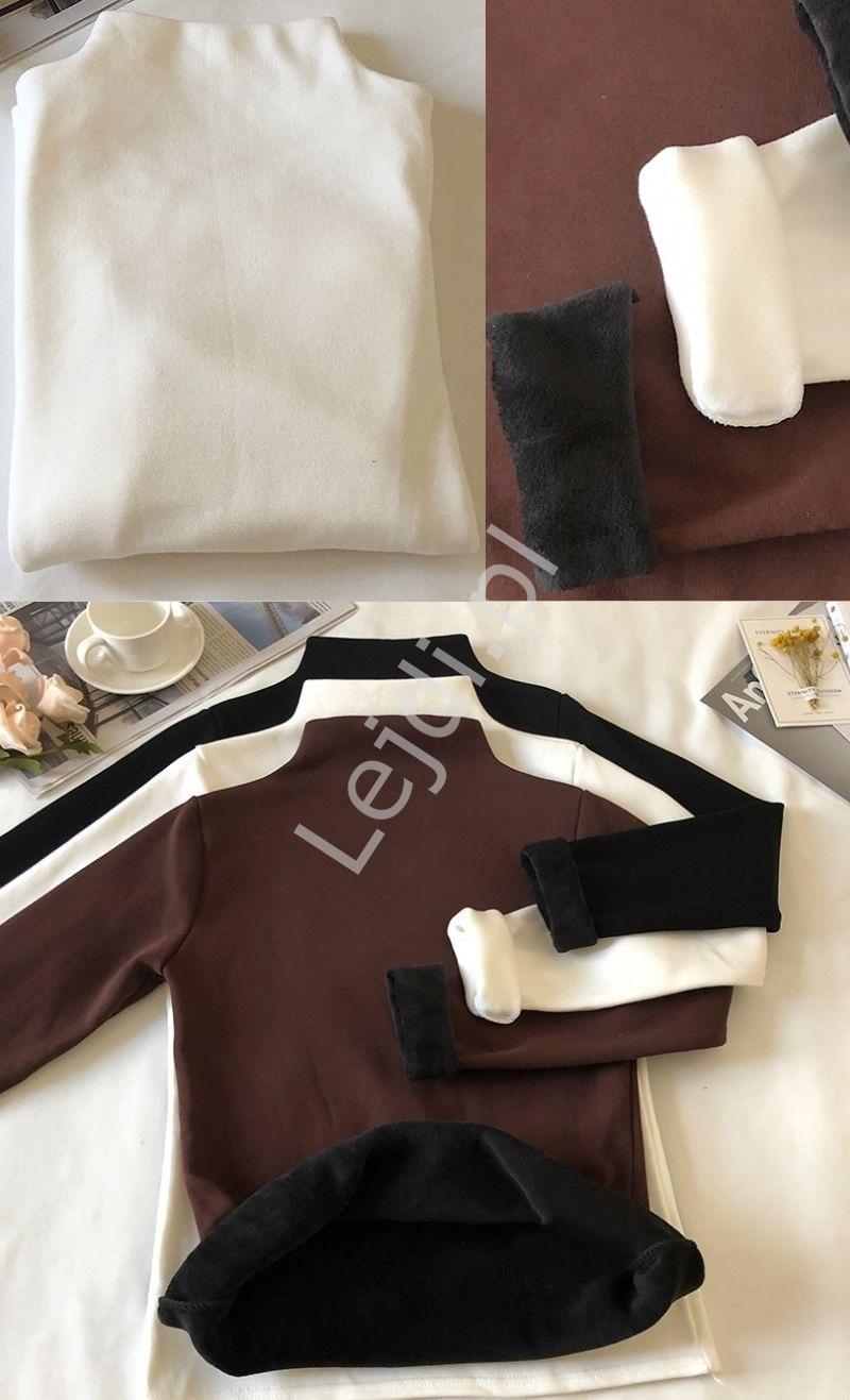 Biała zimowa bluzka z półgolfem z ciepłym misiem w środku 2113 - Lejdi