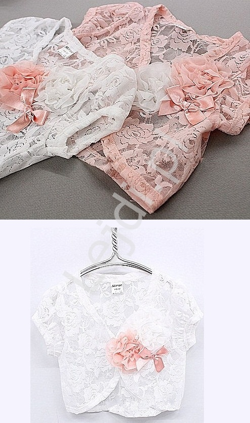 b4f52559c0 Białe koronkowe bolerko dla dziewczynki z różowym kwiatem - Lejdi.pl