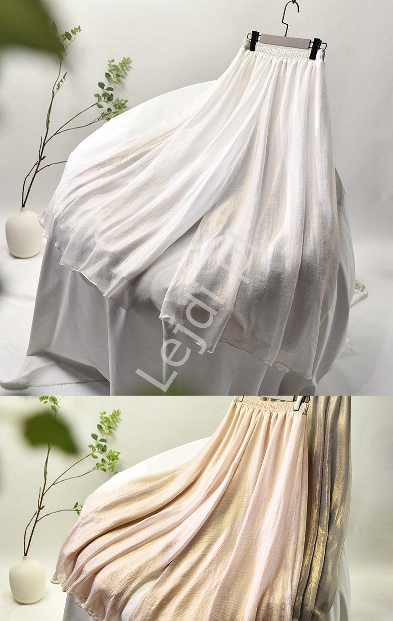 Białe spódnico spodnie ze złotym metalicznym pobłyskiem 6671 - Lejdi