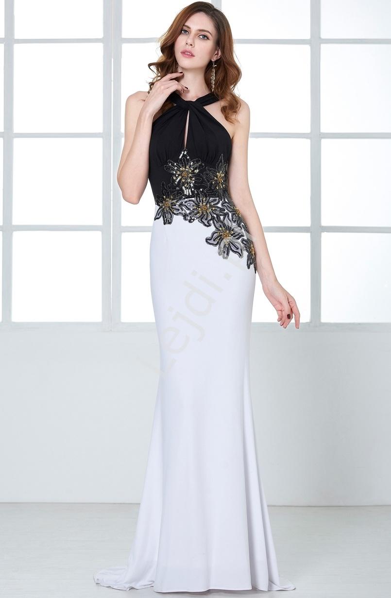 Biało czarna długa suknia wieczorowa zdobiona koralikami i cekinami | długie suknie z trenem - Lejdi