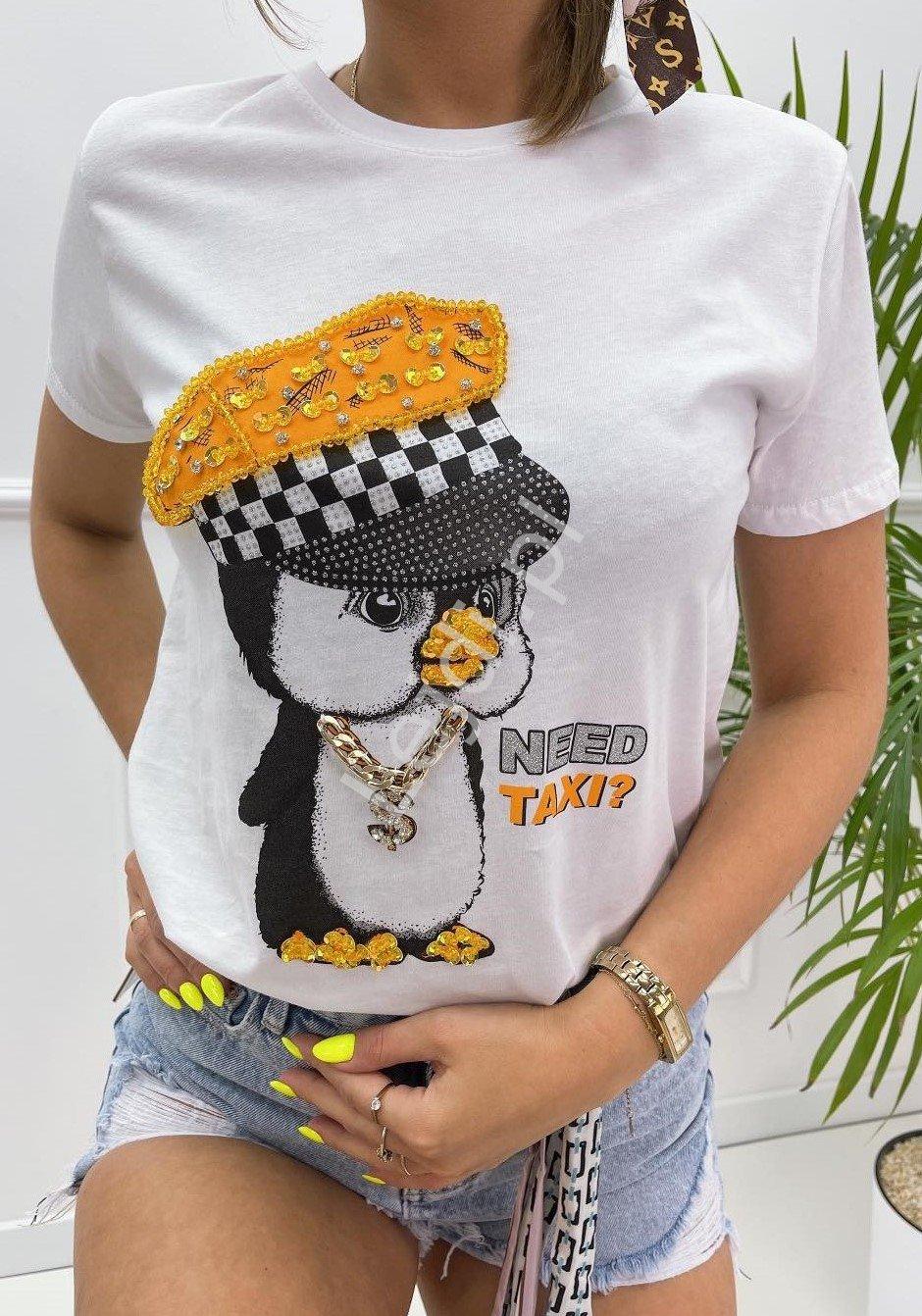 Biały t-shirt Mint z pingwinem zdobionym kryształkami, koralikami i cekinami - Lejdi