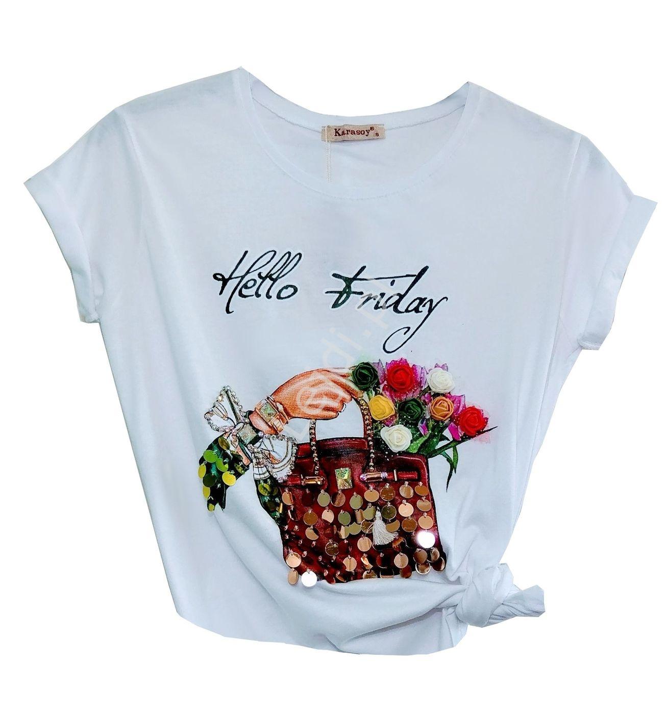 Biały T shirt z cekinami i kwiatami 3D z napisem Hello Friday