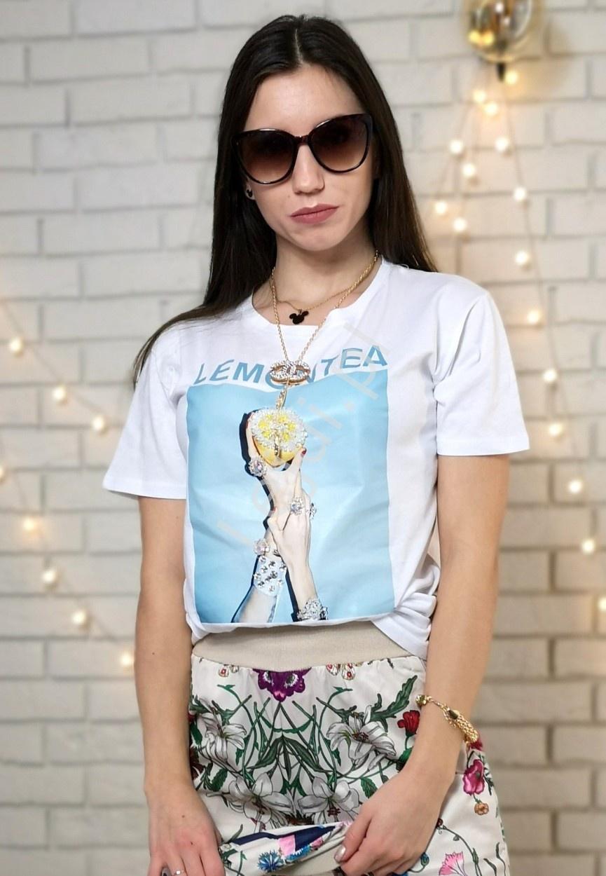 Biały t-shirt z kryształkowym zdobieniem, Lemontea - Lejdi