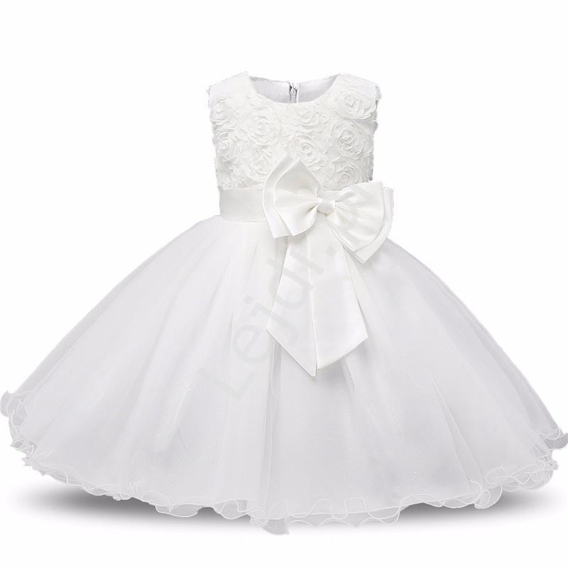 Biały tiulowa sukienka dla dziewczynki z różami - Lejdi