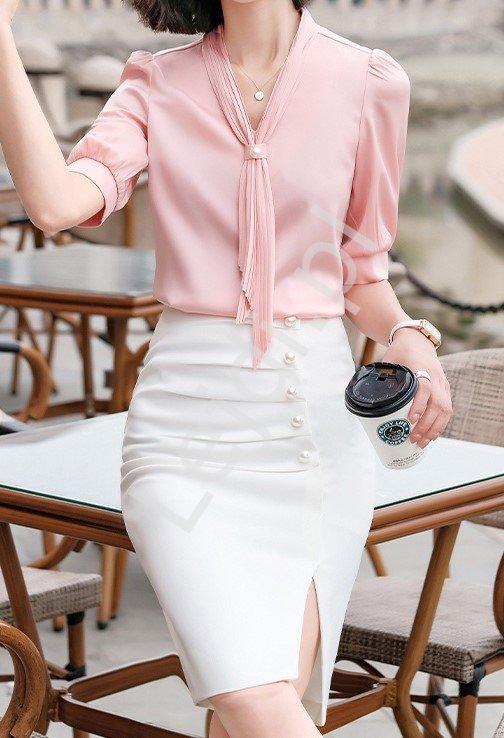 Biznesowy komplet, koszula i spódnica do pracy, na komunię 4955 - Lejdi