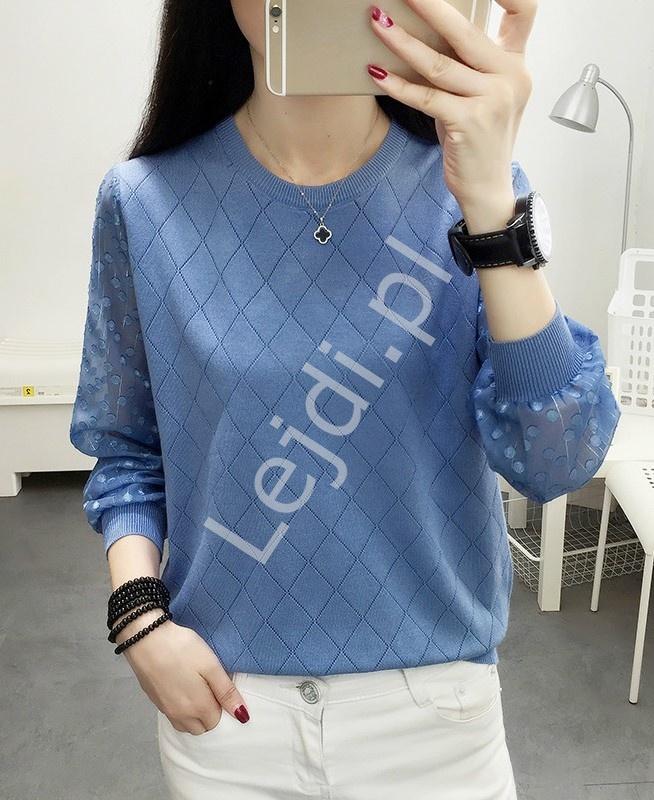 Bluzka sweterkowa w kolorze jeansowym z szyfonowymi rękawami 912 - Lejdi