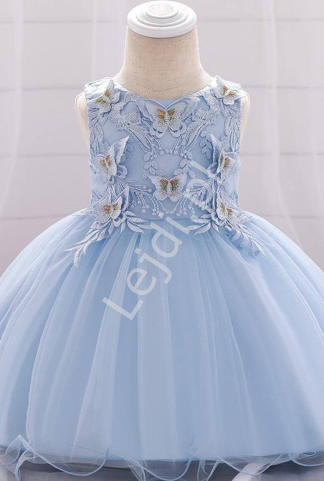Błękitna delikatna sukienka dla dziewczynki z motylkami 899 - Lejdi