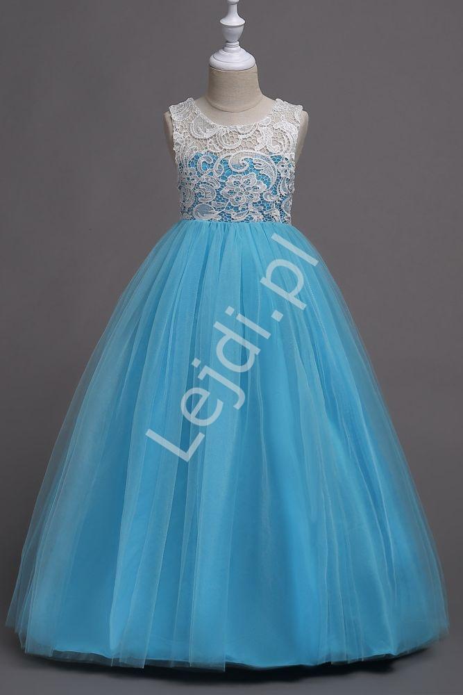 Błękitna długa sukienka dla dziewczynki, tiulowa z białą koronką 007 - Lejdi