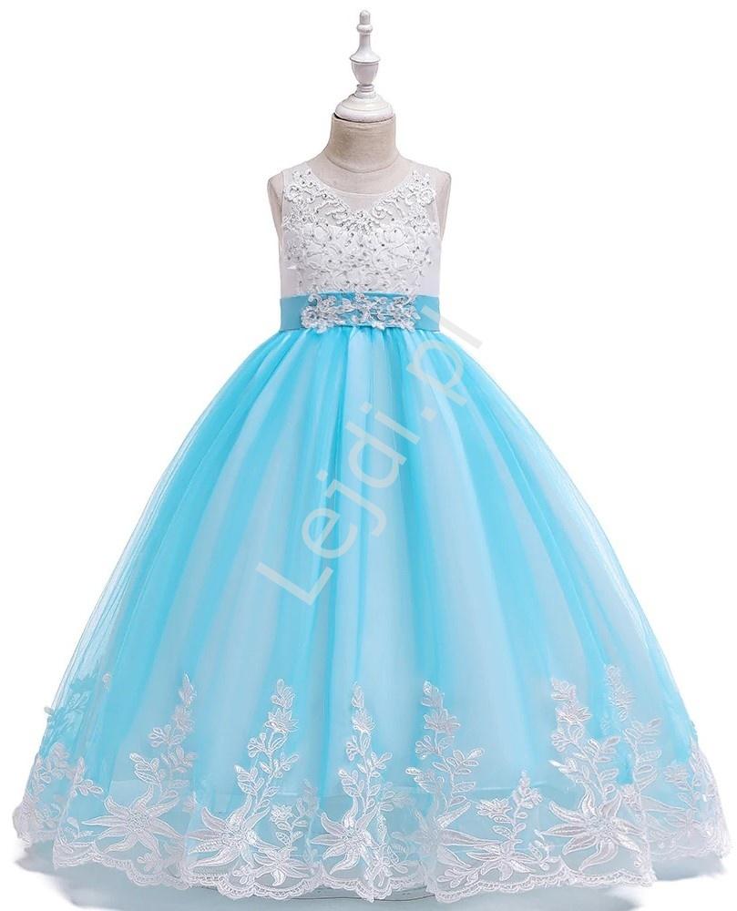 Błękitna długa suknia dziecięca z trenem zdobiona kryształkami i haftem 231 - Lejdi
