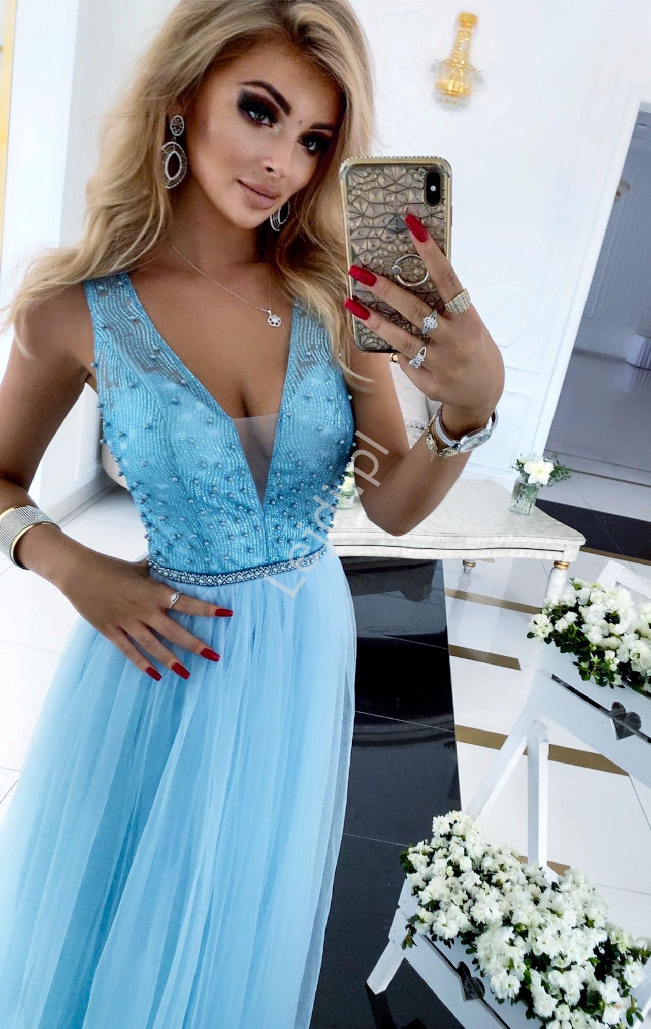 Błękitna fenomenalna sukienka wieczorowa z brokatem i perełkami, Gold - Lejdi