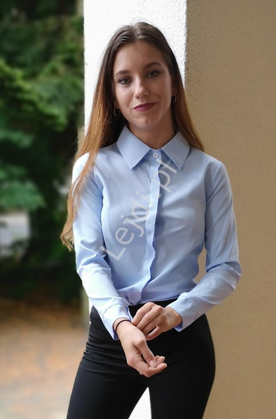 Błękitna koszula damska w eleganckim klasycznym stylu 1173 - Lejdi