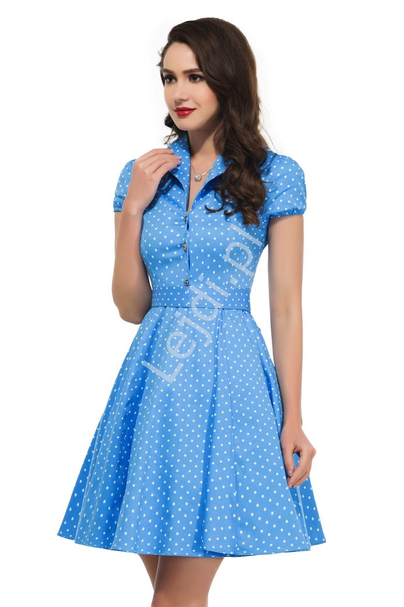 Błękitna rozkloszowana sukienka w drobne białe kropki | sukienka pin up na wesele 6089-3 - Lejdi