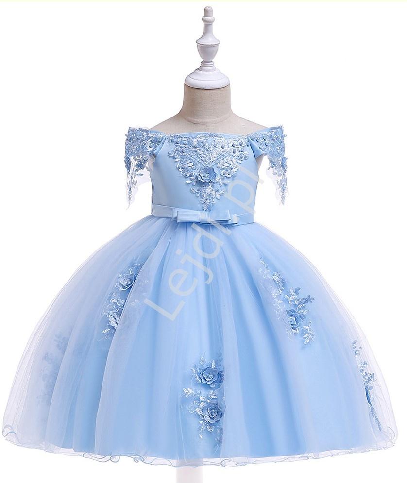 Błękitna sukienka dla dziewczynki jak dla księżniczki 057 - Lejdi