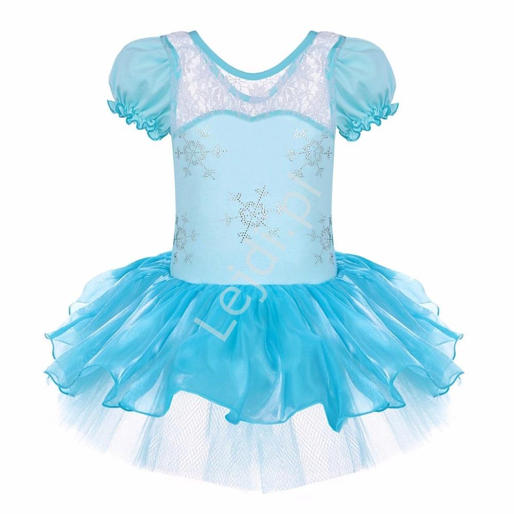 Błękitna sukienka dla dziewczynki, śnieżynka na bal, na balet, na karnawał - Lejdi