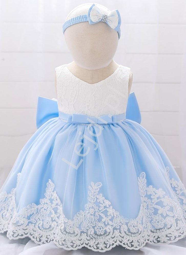 Błękitna sukienka dla dziewczynki z białą koronką w komplecie opaska na głowę - Lejdi