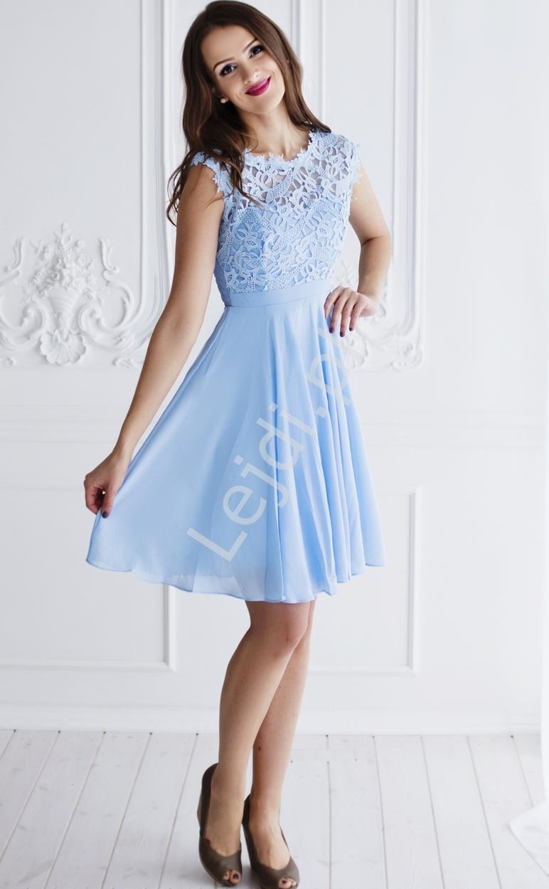 dbda54f69e Błękitna szyfonowa sukienka na wesela