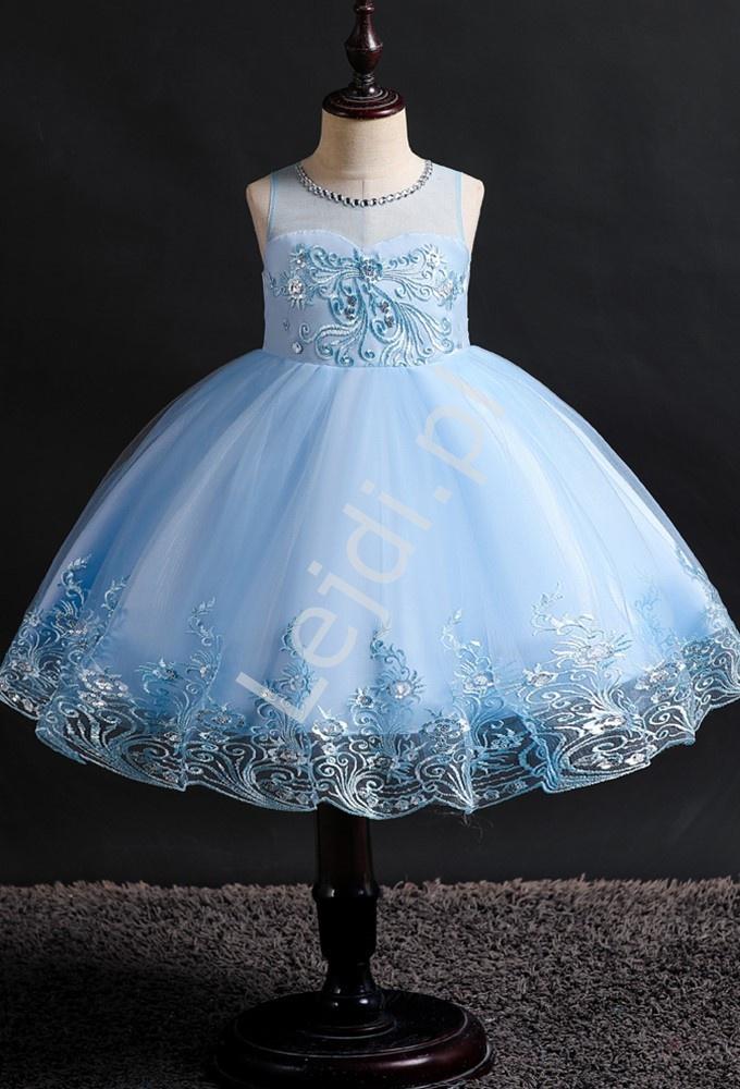 Błękitna tiulowa sukienka dla dziewczynki z cekinami i haftem 561 - Lejdi