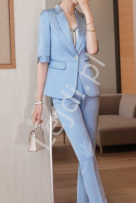 Błękitny garnitur satynowy z połyskującą nicią, marynarka i spodnie 3011 - Lejdi