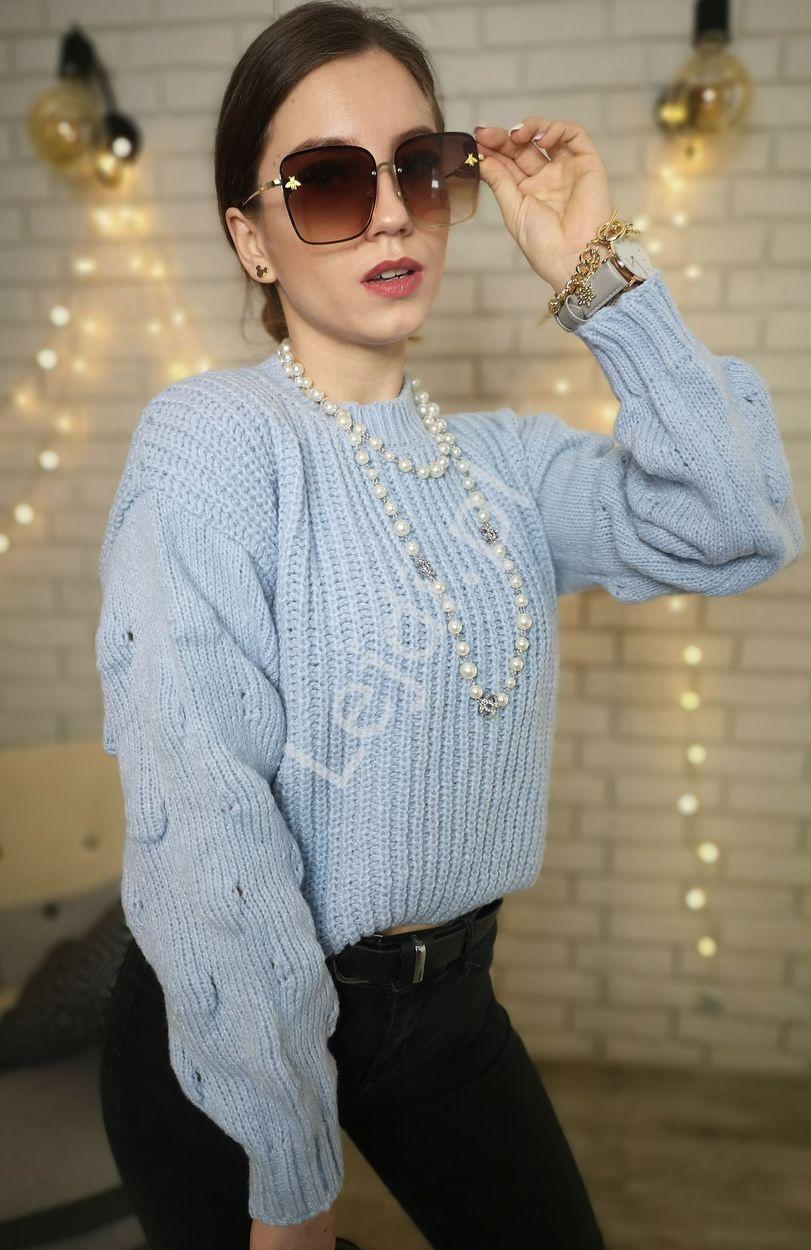 Błękitny sweter grubo dziergany, damskie swetry 7975 - Lejdi