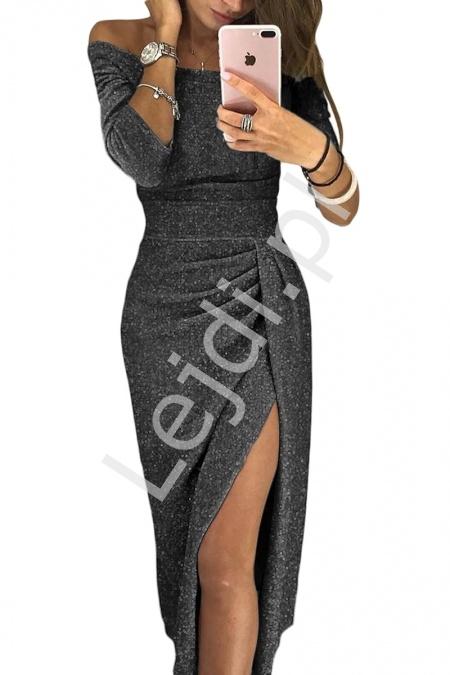 Błyszcząca grafitowa sukienka o eleganckim kobiecym kroju 566 - Lejdi