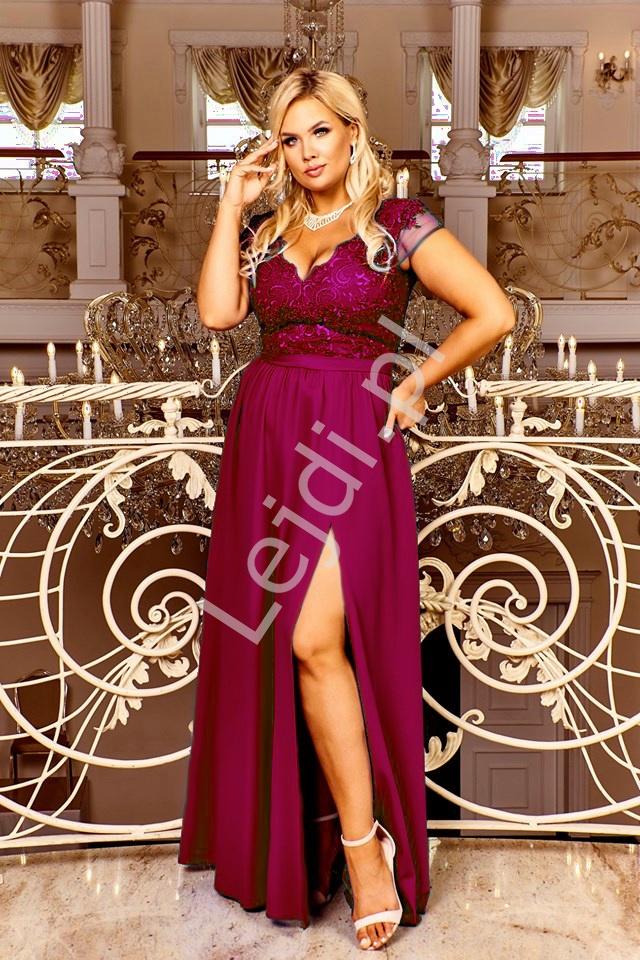 Bordowa długa suknia wieczorowa plus size - Chantell - Lejdi