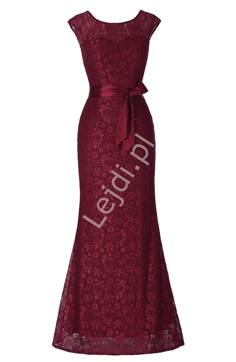 Bordowa koronkowa suknia | wieczorowe suknie z koronki - Lejdi