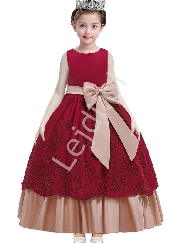 Bordowa sukienka dla dziewczynki na święta, wesele, z beżowymi wstawkami 220 - Lejdi