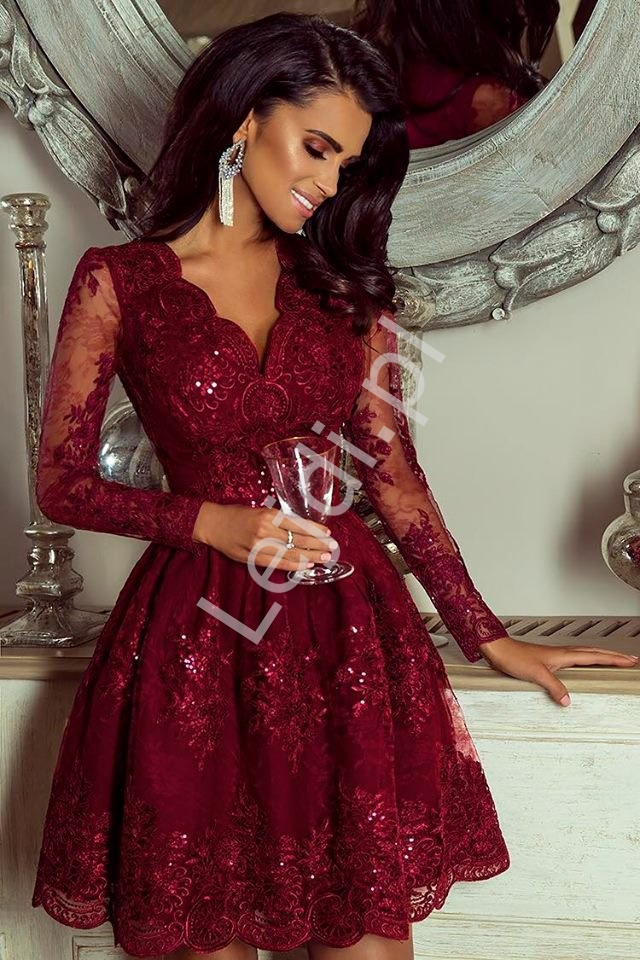 0a6ff6a4ff Bordowa sukienka