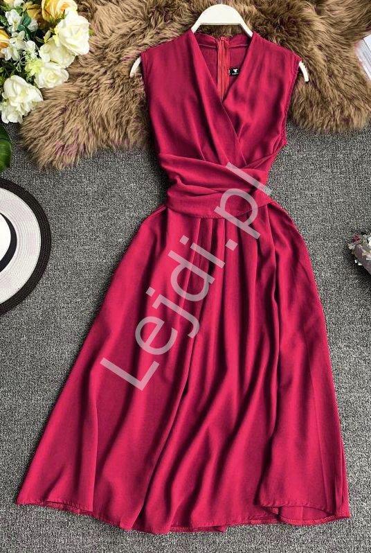 Bordowa sukienka na wesele, poprawiny, komunie 0961 - Lejdi